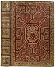 Italiaanse band met wapen van paus Clemens X voor Nicolaus Antonio, Bibliotheca hispana (1672) [Foto: Koninklijke Bibliotheek, Den Haag]
