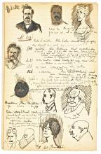 Portretten van Bolland en medestudenten door J.J. van der Harst (Koninklijke Bibliotheek Den Haag)