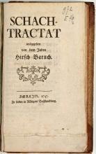 Uniek exemplaar van Hirsch Baruch, Schachtractat (1747) (Koninklijke Bibliotheek Den Haag, aanvraagnummer: KW 972 E 40:2)