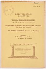 Veilingcatalogus Burgersdijk & Niermans, Veiling Nr. 204 (1952) met restanten van de Van Baakcollectie