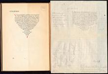Ontwerp van Rik Roland Holst voor het colofon van de tweede druk van Henriette Roland Holst, Verworvenheden (1928) (Koninklijke Bibliotheek Den Haag, aanvraagnummer: KW  135 C 24: en KW 2287 C 11)
