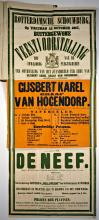 Affiche feestvoorstelling voor het standbeeld van Gijsbert Karel van Hogendrop (1867) [Foto: Koninklijke Bibliotheek, Den Haag]